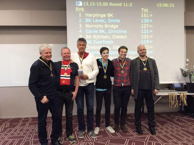 3:a ... Norrorts Bridge ... Lars Ramquist, P-G Eliasson, Jan Selberg, Daniel Gullberg, Mikael Grönkvist, Olle Wademark. Jan Lagerman ej med på bild.