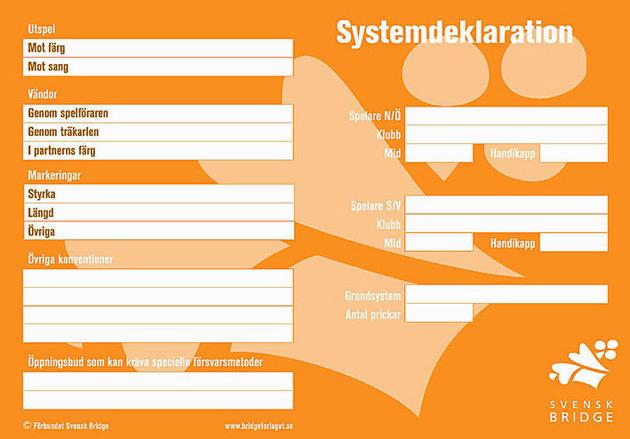 Systemdeklaration för mindre rutinerade, framsida