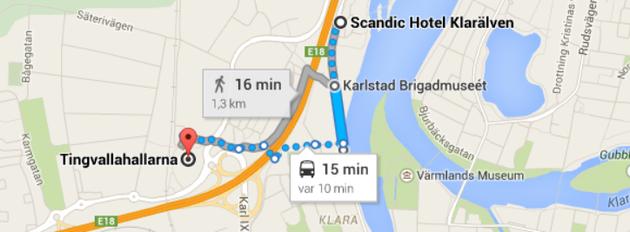 Hitta till Scandic Klarälven och Tingvallahallarna